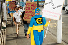 Captain Healthy and fellow protesters in action in Napier. Photo / Glenn Taylor