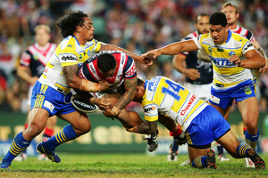 Frank-Paul Nuuausala of the Roosters is tackled during the round four NRL match between the Sydney Roosters and the Parramatta Eels. Photo / Getty Images