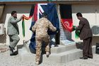 The New Zealand flag is lowered for the final time at Kiwi Base in Bamiyan. Photo / NZ Defence Force/Supplied
