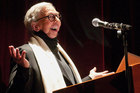 Film critic Roger Ebert welcoming people to the opening of the 13th annual Ebertfest film festival.