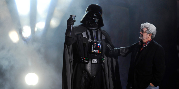 Lucasfilm founder George Lucas with Darth Vader. Photo/AP