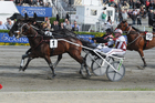 Vulcan (1) takes out the $200,000 Dominion Handicap at Addington in 2011. Photo /Otago Daily Times