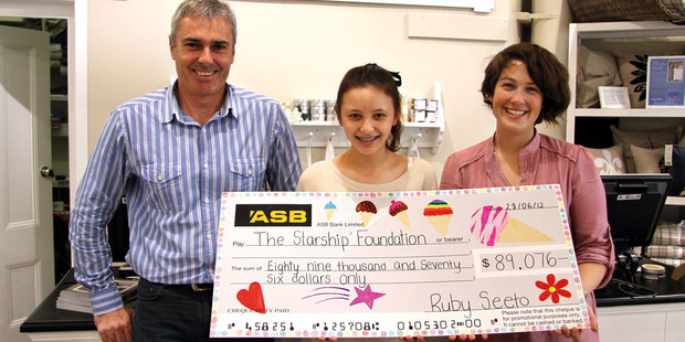 Wallace Cotton's Bill Wallace (l) with Ruby Seeto and Samantha Binks from Starship. Photo / Supplied