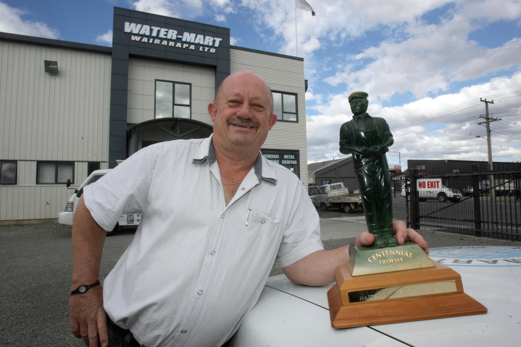 wta250313lfrod02.jpg Water-Mart Wairarapa in Masterton Master Plumber of the Year 2013. pictured managing director Rod miller pictured with the supreme award.
