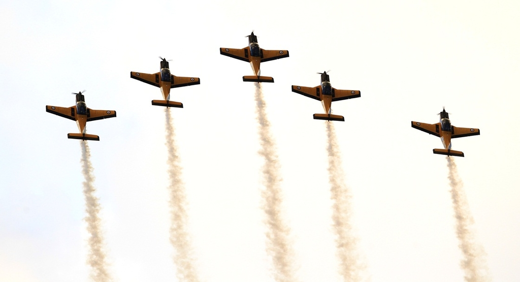 The Red Checkers put on a 15 min aerobatic display over the Mount Main Beach.