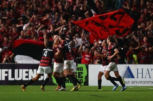 Shinji Ono celebrates with his team after scoring a goal during the A-League Semi Final match between the Western Sydney Wanderers and the Brisbane Roar. Photo / Getty Images