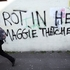 Anti Margaret Thatcher graffiti adorns a wall on the Falls Road in west Belfast, Northern Ireland. Photo / AP