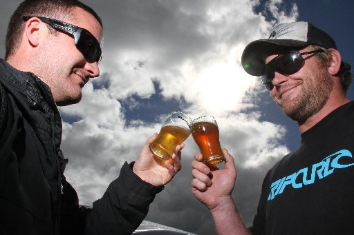 The Greater Wellington Brewday beer festival in Martinborough. Michael Thompson (left) and Nicholas Piveto, both of Lower Hutt, toast each other under the afternoon sun.