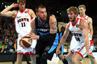 Will Hudson of the Breakers clears the rebound during game one of the NBL Grand Final series between the New Zealand Breakers and the Perth Wildcats. Photo / Getty Images.