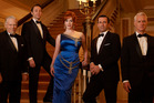 Season six cast, from left, Robert Morse, Vincent Kartheiser, Christina Hendricks, Jon Hamm, and John Slattery. Photo / Supplied