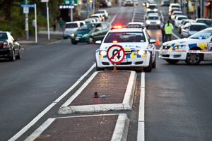 The scene of a hit and run accident on Aucklands Dominion road, Mount Eden, where a car struck a teenage boy and fled the scene.Photo / Neville Marriner