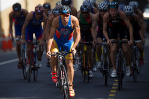 Javier Gomez worked hard on the bike in winning the world triathlon series event yesterday. Photo / Greg Bowker