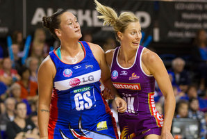 Catherine Latu works hard to contain Laura Geitz during the Northern Mystics ANZ Championship Netball game against the Queensland Firebirds. Photo / Greg Bowker