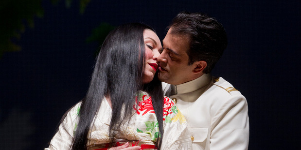 Antoinette Halloran as Cio Cio San (Madam Butterfly) and Piero Pretti as Pinkerton at the Aotea Centre in Auckland. Photo / Sarah Ivey
