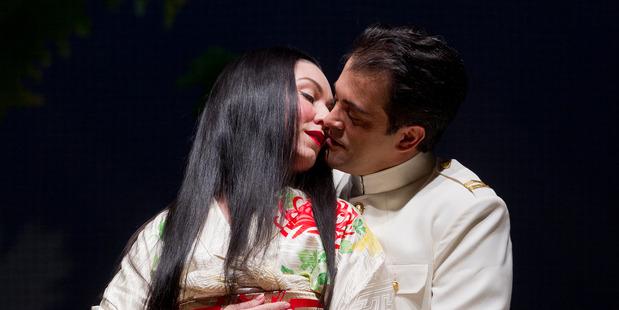 Antoinette Halloran as Cio Cio San (Madam Butterfly) and Piero Pretti as Pinkerton at the Aotea Centre in Auckland. Photo / Sarah Ivey