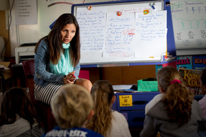 Elisabeth Diaz teaches in French to year four, five and six students at Richmond Road School in Ponsonby. Photo / Sarah Ivey
