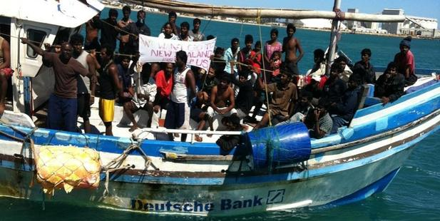 A Deutsche Bank boat carrying asylum seekers pulls into Geraldton, near Perth Australia. Photo / Supplied