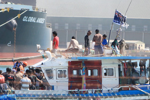 The arrival of the Sri Lankan boat flying a New Zealand flag in Geraldton harbour on Tuesday shocked Australian authorities.  Photo / Graeme Gibbons