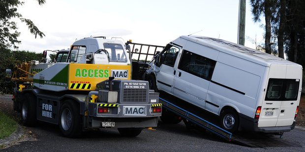 A prisoner was injured when a crane collided with a prison van near Aongaetete. Photo / George Novak