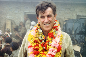Sir Edmund Hillary at the opening of Bakanje School 1970 in Nepal. Photo / Auckland Museum collection, Sarah Ivey