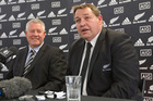 All Blacks coach Steve Hansen and NZRU CEO Steve Tew during their press conference at Rugby House in Wellington today. Photo / Mark Mitchell