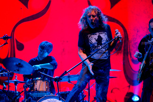Robert Plant on stage with the Sensational Space Shifters in Auckland last night. Photo / Dean Purcell