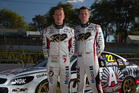 James Courtney (left) and Garth Tander sport the HRT Anzac tribute commemorative livery.  Photo / Edge Photographics