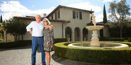 Brian and Gwen Frecker at their $9 million-plus home on Cliff Rd, St Heliers, where they have lived for 12 years. Photo / Chris Gorman