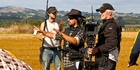 Director Te Arepa Kahi with camera operator Rhys Duncan filming New Zealand written 'Mt Zion', starring Stan Walker and Temuera Morrison. Photo / Supplied