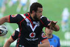 The New Zealand Warriors Ben Matulino in action. Photo / Greg Bowker
