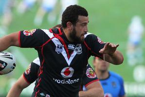 The New Zealand Warriors Ben Matulino in action. Photo / Greg Bowker