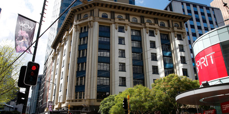 The Harcourts Building on the corner of Lambton Quay and Grey Street, Wellington. Once valued at $22m, now $10m with few tenants due to its lack of seismic strengthening. Photo / Mark Mitchell