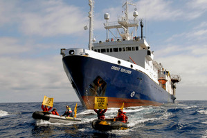 The Government is pushing through legislation to stop protests at sea. Photo / Greenpeace/Malcolm Pullman