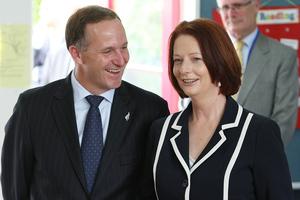 Prime Minister John Key and the Australian Prime Minister Julia Gillard. File photo / Greg Bowker
