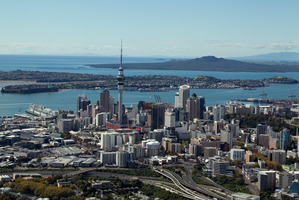 An aerial view of Auckland City with Rangitoto in the background. Photo / Brett Phibbs