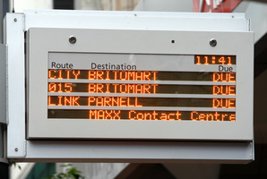 "The $24.3 million ""real-time"" arrival indicator system has blighted the lives of Auckland bus users for 10 years. Photo / Brett Phibbs"