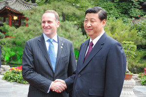 New Zealand Prime Minister John Key meets with Chinese President Xi Jinping, Beijing, China. Photo / Kate Chapman