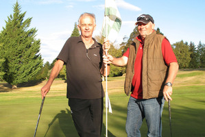Wayne Cameron (left) and Colin Hurley both shot holes-in-one on the same hole.  Photo / Otago Daily Times