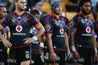 Simon Mannering of the Warriors and the team look on during the round 5 NRL match between the New Zealand Warriors and the South Sydney Rabbitohs. Photo / Getty Images.