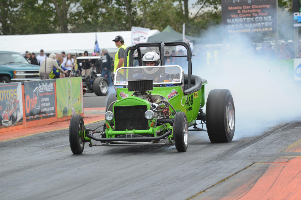The faster of two Competition brackets was won by Reporoa's Brian Hayes in his 9.3secs capable `23 T Bucket. COLIN SMITH PHOTO