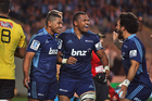 Charles Piutau of the Blues celebrates after scoring a try against the Hurricanes. Photo /Getty Images