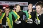 A Wellington team called Cool Runnings – named after the Jamaican bobsled movie – are ecstatic to cross the finish line as the fastest team at Oxfam Trailwalker, running the 100 kilometre trail in Taupo in just 12 hours and 41 minutes.