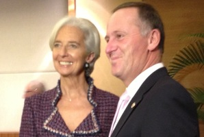 IMF managing director Christine Lagarde with NZ PM John Key.Photo / Audrey Young
