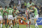 Raiders players celebrate after winning the round five NRL match against the Sydney Roosters. Photo / Getty Images