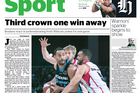 The Herald sports section lead for April 8, 2013.