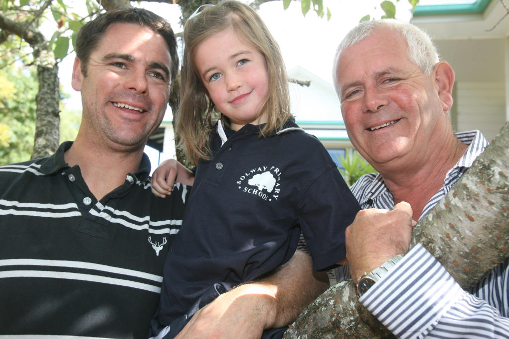 wta080413lfbooth01.jpg Victoria Booth is the fourth generation to attend Solway Primary School. Pictured with dad Sam and grandfather John on her first day.