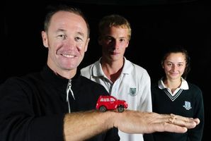 Legendary Kiwi V8 SuperCar driver Greg Murphy spoke to students at Otumoetai College about car safety. Photo / George Novak