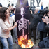 Irish Republicans are watched by the media as they burn a mock coffin of Margaret Thatcher in the Bogside area of Londonderry, Northern Ireland. Photo / AP