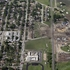 The remains of a fertilizer plant are seen, right, that exploded in West, Texas. Photo / AP