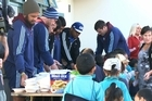 Rongomai Primary School was treated to a special breakfast with the Blues. Kids Kai Time provides a breakfast service for low decile schools, Michelle McArthur who started the initiative 'Kids Kai Time' is driven to provide children with a nutritional breakfast and lunch, and to also teach the children about oral hygiene and the values if nutritional food.